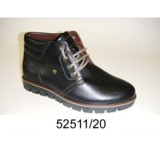 Men's black leather boots, model 52511-20