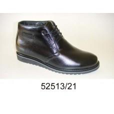 Men's black leather boots, model 52513-21