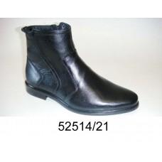Men's black leather boots, model 52514-21