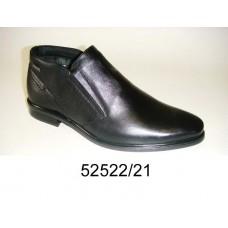 Men's black leather boots, model 52522-21