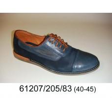 Men's blue leather shoes, model 61207-205-83