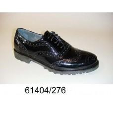 Men's black leather brogue shoes, model 61404-276