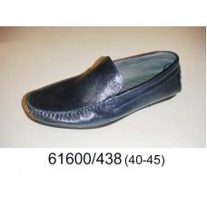 Men's navy leather moccasins, model 61600-438