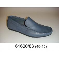 Men's grey-blue leather moccasins, model 61600-83