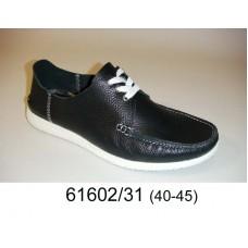 Men's black leather shoes, model 61602-31