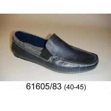 Men's dark blue leather moccasins, model 61605-83