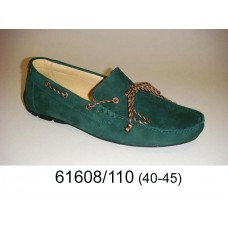 Men's green suede moccasins, model 61608-110