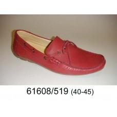 Men's red leather moccasins, model 61608-519