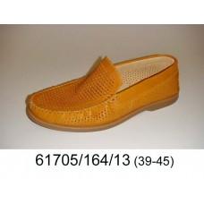 Men's orange leather moccasins, model 61705-164-13
