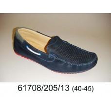 Men's leather dark blue moccasins, model 61708-205-13