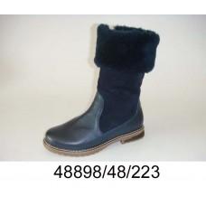 Women's dark blue leather boots, model 48898-48-223