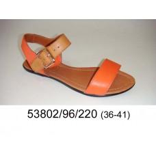 Women's orange leather sandals, model 53802-96-220
