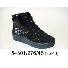 Women's black leather platform sneakers boots, model 54301-276-46