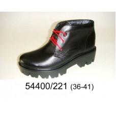 Women's black leather platform boots, model 54400-221