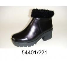 Women's black leather boots, model 54401-221