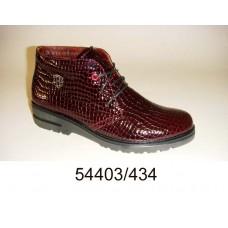 Women's wine leather comfort boots, model 54403-434