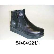 Women's black leather platform boots, model 54404-221-1