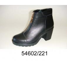 Women's black leather high heels boots, model 54602-221