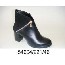 Women's black leather boots, model 54604-221-46