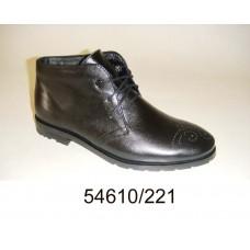 Women's black leather boots, model 54610-221