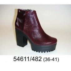 Women's wine leather platform boots, model 54611-482