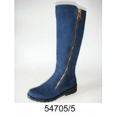 Women's blue suede knee high boots, model 54705-5