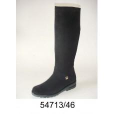 Women's black suede knee high boots, model 54713-46