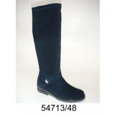 Women's dark blue suede knee high boots, model 54713-48