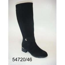 Women's black suede knee high boots, model 54720-46