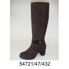 Women's dark brown suede high boots, model 54721-47-432