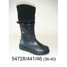Women's black leather boots, model 54728-441-46