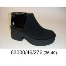 Women's black suede platform boots, model 63000-46-276