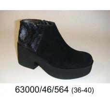 Women's black suede platform boots, model 63000-46-564