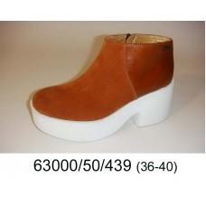 Women's orange suede platform boots, model 63000-50-439