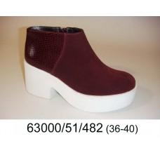 Women's wine suede platform boots, model 63000-51-482