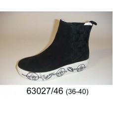 Women's black suede boots, model 63027-46