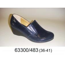 Women's blue leather shoes, model 63300-483