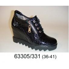 Women's black leather sneakers boots, model 63305-331