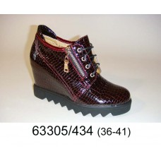 Women's wine leather sneakers boots, model 63305-434