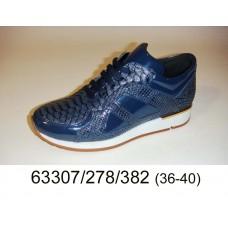 Women's blue leather sneakers, model 63307-278-382