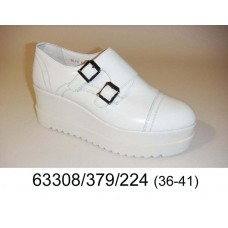 Women's white leather platform shoes, model 63308-379-224