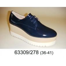 Women's blue leather platform shoes, model 63309-278
