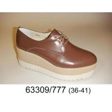 Women's brown leather platform shoes, model 63309-777