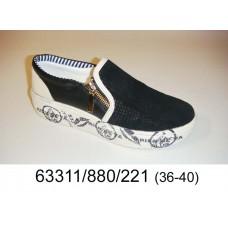 Women's black leather slip-on, model 63311-880-221