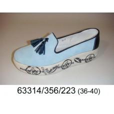 Women's blue light suede slip-on, model 63314-356-223