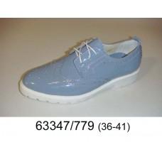 Women's blue leather brogue shoes, model 63347-779