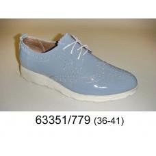 Women's blue leather shoes, model 63351-779