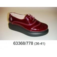 Women's wine leather platform shoes, model 63368-778