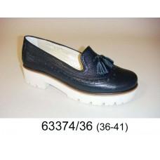 Women's dark blue leather loafer shoes, model 63374-36