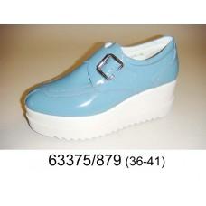 Women's blue light leather platform shoes, model 63375-879